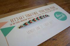 Friendship bracelets invitations via Dandee Designs You can make these with bracelets from ClamBoneBracelets.Etsy.com!