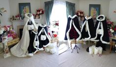 """RESERVED Custom listing for """"Magstar86"""" Family Pack 6 Bridal Capes Ivory / Black Satin & Fleece Hooded with Fur Trim + Muffs Handmade In USA by capeandcrown13 on Etsy"""
