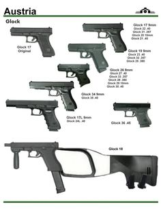 The Austrian Glock G Series semi-automatic pistols, these masterpiece will take ages for a jam to occur. Military Weapons, Weapons Guns, Guns And Ammo, Assault Weapon, Gun Holster, Cool Guns, Rifles, Survival Tips, Firearms