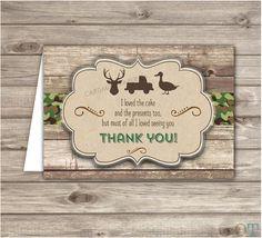 Bucks Ducks and Trucks Boy Birthday Thank You Cards