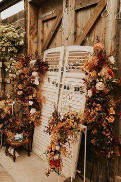 Orange Wedding Themes, Green Wedding Decorations, Orange Wedding Flowers, Fall Wedding Centerpieces, Wedding Dresses With Flowers, Red Flowers, Wedding Venues Devon, Outdoor Wedding Venues, Wedding Signage
