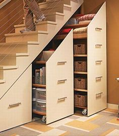 Organization ideas for the home, STORAGE UNDER THE STAIRS make home decor so easy.