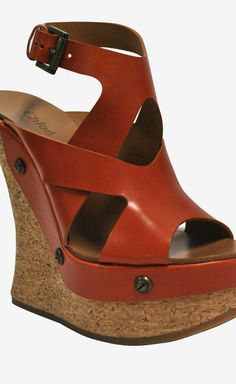 Burnt Orange Cork Wedge Sandals