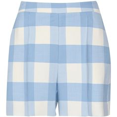 Oscar de la Renta Checked wool-blend shorts (725 CAD) ❤ liked on Polyvore featuring shorts, bottoms, pants, highwaisted shorts, highwaist shorts, checkered shorts, oscar de la renta and off white shorts