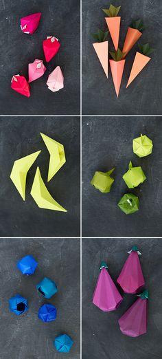 Origami Fruits in rainbow