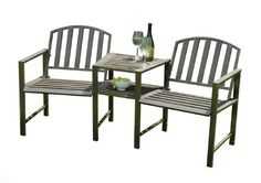 Doverdale Metal Companion Seat and Love Seat with Table in a Antique Dark Copper Finish