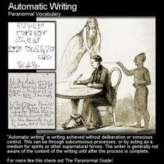 Automatic Writing. An interesting method of communication with spirit (or other things beyond or side), have you ever given this a go? Head to this link for the full post: http://www.theparanormalguide.com/1/post/2013/04/automatic-writing.html