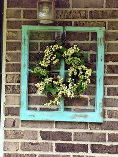 Old windows diy style! wood signs old window decor, old wind Window Frame Decor, Old Window Frames, Window Frame Ideas, Old Window Art, Frames Ideas, Wall Decor, Window Wall, Antique Windows, Vintage Windows