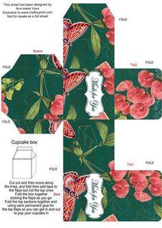 Peacock Colour Sweet Peas Single Cupcake Presentation Box on Craftsuprint - Add To Basket!
