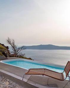 Caldera view terrace with plunge pool at the Chromata Santorini, Greece