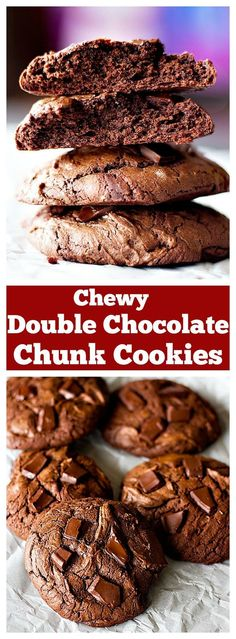Chewy Double Chocolate Chunk Cookies will cure all your chocolate cravings in one bite. These cookies are crispy on the edges and very chewy on the inside with big chocolate chunks in every bite!