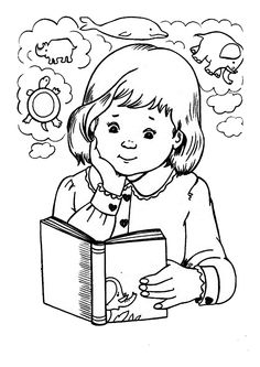 Mi colección de dibujos: Dibujos de libros People Coloring Pages, Coloring Book Pages, Art Drawings For Kids, Drawing For Kids, Class Reunion Decorations, Photo Christmas Ornaments, School Clipart, Human Drawing, Magic Book