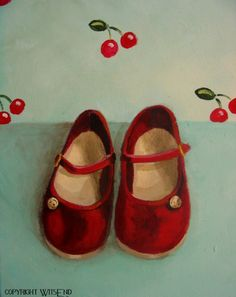 Red Shoes painting original ooak fashion art childs by 4WitsEnd