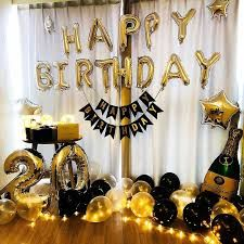 Happy Birthday Letter Balloons, Happy Birthday Decor, Birthday Decorations At Home, Creative Birthday Gifts, Happy Birthday Girls, Happy Birthday Parties, Surprise Party Decorations, Silver Party Decorations, Birthday Backdrop