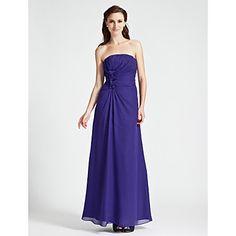 Sheath/Column Strapless Floor-length Chiffon Bridesmaid Dress – CAD $ 134.05