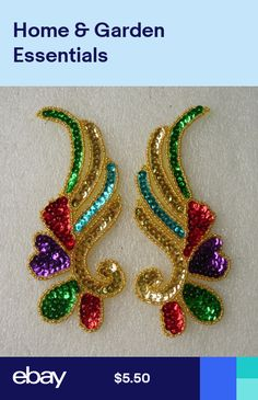 Embellishments & Finishes Mirror Pair Floral Sequined Beaded Applique Multicolor Sew On Dancewear & Garden Zardozi Embroidery, Hand Work Embroidery, Beaded Embroidery, Embroidery Designs, Bird Applique, Applique Fabric, Seed Bead Art, Crochet Bedspread Pattern, Motifs Perler