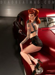cherrydollface for www.Deadbeatmag.com issue out NOW! makeup by jennifercoronamua, hair and stling by madamepomp, car thanks to Paul of the Throttle Kings CC shot at Wonderland Studios Photo: shannonbrookeimagery
