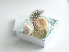 Festive and sparkly little girls headband. The arrangement consists of a cream felt rose, champagne and gold flowers with a czech glass bead in the