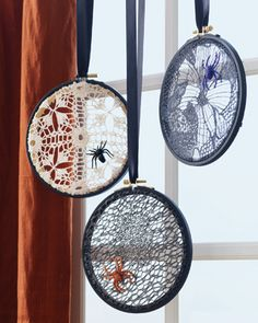 For a sophisticated take on #Halloween house decor, try these lace spider webs.