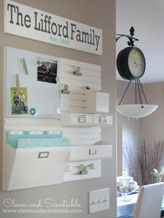 I love a good command center! Clean & Scentsible shows us how she set it up with all the details.  Love the white with turquoise.  Very cute!