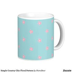 Simple Country Chic Floral Pattern Mug by NamiBear on Zazzle.com. This is a very cute and girly simple floral pattern with pastel colors.