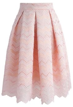 We're totally sweet on this wavy embroidered pleated skirt boasting an A-line silhouette and subtly scrolled hemline.  - Zigzag pattern embroidery - Pleats from waist - Eyelet detail - Scrolled hemline - Concealed side zip closure - Lined - 100% polyester - Hand wash  Size(cm) Length Waist XS          63    62 S         ...