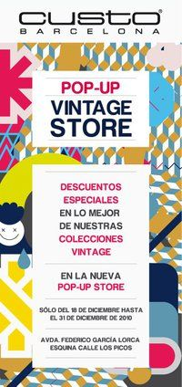 Pop-Up vintage store. Great example of the promo ad communicating well  and inviting people to the store! popuprepublic.com