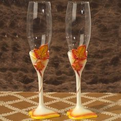 Splendid Autumn Toasting Glasses Set (Cassiani Collection 1798) | Buy at Wedding Favors Unlimited (https://www.weddingfavorsunlimited.com/splendid_autumn_toasting_glasses_set.html).