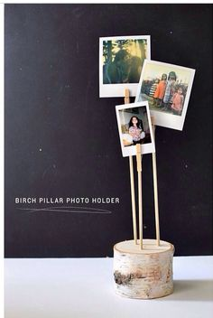 Niedliche Idee ❤ Fotoständer aus Holz l DIY birch pillar photo holder Quick And Easy Crafts, Diy And Crafts, Easy Diy, Photo Holders, Card Holders, Diy Photo, Wood Photo, Photo Ideas, Photo Displays