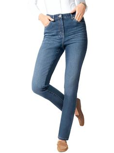 Jeans in aktueller Used-Optik Jeans, Lady, Dark Blue, Fashion Looks, Street Style, My Style, Classic, Tops, Casual