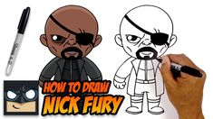 Learn how to draw Nick Fury from the Avengers in this easy step-by-step drawing tutorial. If you enjoyed this video then check out the link below with more d. Baby Marvel, Chibi Marvel, Marvel Art, Easy Cartoon Drawings, Disney Drawings, Easy Drawings, Spiderman Drawing, Loki Drawing, How To Draw Avengers