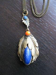Vintage Czech Neiger Art Deco Brass filigree lapis glass necklace | eBay