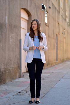 simple blouse + white blazer + statement necklace + skinnies + feminine details