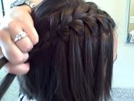 Waterfall french braid-easy on short hair, too.