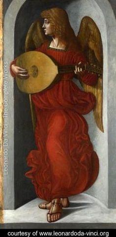 An Angel in Red with a Lute - Leonardo Da Vinci - www.leonardoda-vinci.org