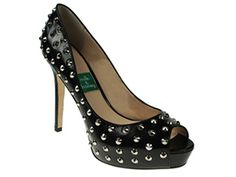 Milk & Honey Black Studded Leather Pumps With Custom Heel Heights
