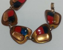 Kay Denning Vintage, Enameled,  Red, blue and Gold Copper Bracelet, Mod, stylish and fun signature piece
