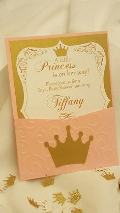 This listing is for a set of 12 pink and gold invitations for a princess themed baby shower. Each invite is approximately 4 by 6 and they come