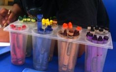 Ice-pop trays are surprisingly ideal for organizing your kid's crayons.