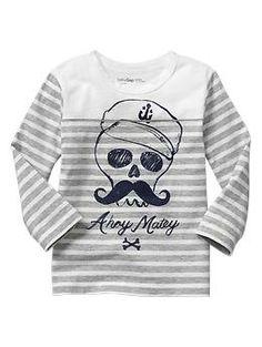 Grey Stripe graphic Pirate tshirt from Gap