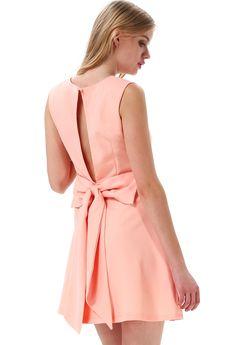 Pink Round Neck Sleeveless Back Bow Dress - Sheinside.com