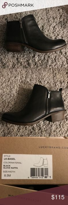 Lucky Brand Basel Bootie Super adorable Lucky Brand black leather booties. I'm so sad; I got these and they're too small for me and I waited too long to exchange them. Perfect for the fall! Never been worn! Smoke and pet free home. Lucky Brand Shoes Ankle Boots & Booties