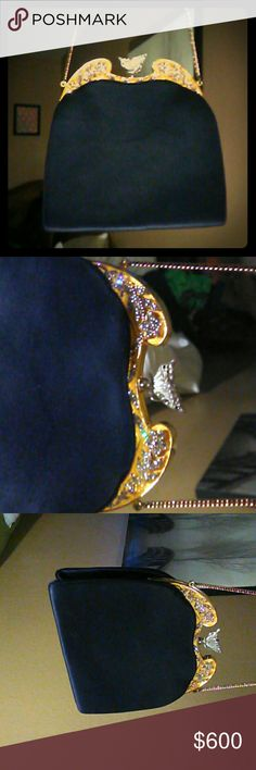 VINTAGE JUDITH LEIBER EVENING BAG Beautifully crafted with fine crystals. Butterfly clasp outlined with crystals. Janet Leiber  Bags Clutches & Wristlets