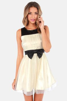 Backless Black and Cream Dress