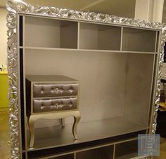 BAROQUE DIVINE TV Bookcase in Silver Leaf  This gorgeous Media Console will add the finishing touches to any magnificent boudoir. Available in many color and size. MODERN FRENCH, VICTORIAN, ROCOCO & BAROQUE Chairs, Tables, Mirrors, Storages, Sofa, Benches, Stools & Beds | Tailor-Made To Your Given Measurements & Style Wishes. www.ParisHomeOnline.com