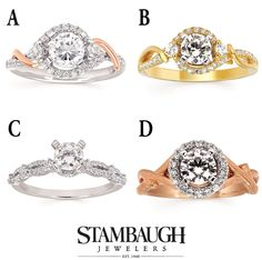 It's #WeddingWednesday!  Which of these #ForeverElegant engagement rings do you like best?  Visit our Facebook page to vote for your favorite!  https://www.facebook.com/StambaughJewelers/