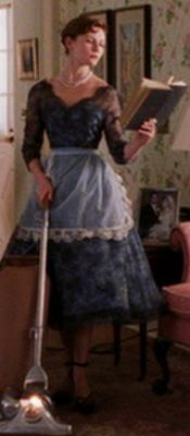 One of Kirsten Dunst's dresses in Mona Lisa Smile; black lace over a copen-blue satin or taffeta. (One of my favorite costumes in the movie)