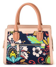 Another great find on #zulily! Navy & Pink Leather Amelia Sarah Satchel #zulilyfinds