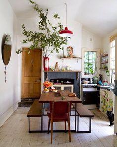Home Interior Cocina .Home Interior Cocina Bohemian Kitchen, Rustic Kitchen, Bohemian Decor, Kitchen Ideas, Mini Kitchen, Kitchen Dinning, Family Kitchen, Bohemian Interior, Bohemian Living