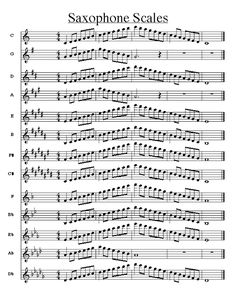 Music score of saxophone scales Free sheet music for sax Alto Sax Sheet Music, Jazz Sheet Music, Saxophone Music, Soprano Saxophone, Free Sheet Music, Piano Music, Tenor Sax, Guitar Songs, Guitar Chords